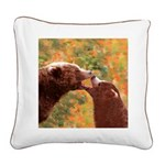 Grizzly Bear Mom and Cub Square Canvas Pillow