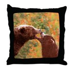 Grizzly Bear Mom and Cub Throw Pillow