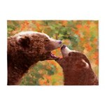 Grizzly Bear Mom and Cub 5'x7'Area Rug