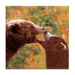 Grizzly Bear Mom and Cub Tile Coaster