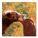 Grizzly Bear Mom and Cub Square Car Magnet 3