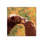 Grizzly Bear Mom and Cub Square Sticker 3