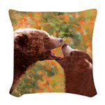 Grizzly Bear Mom and Cub Woven Throw Pillow