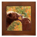 Grizzly Bear Mom and Cub Framed Tile