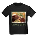 Grizzly Bear Mom and Cub Kids Dark T-Shirt