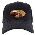 Grizzly Bear Mom and Cub Black Cap with Patch