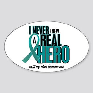 Never Knew A Hero 2 Teal (Mom) Oval Sticker