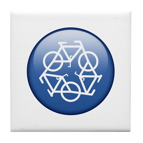 Recycle Bicycle Blue Tile Coaster