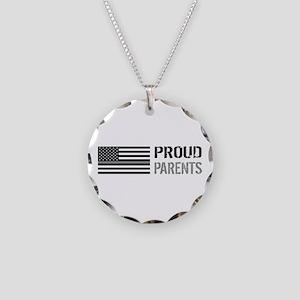U.S. Flag Grey Line: Proud P Necklace Circle Charm
