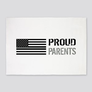 U.S. Flag Grey Line: Proud Parents 5'x7'Area Rug