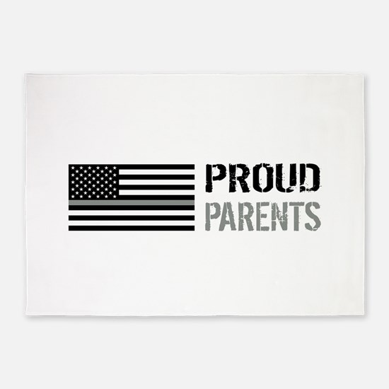 U.S. Flag Grey Line: Proud Parents 5'x7'Area Rug