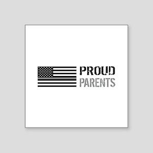 "U.S. Flag Grey Line: Proud Square Sticker 3"" x 3"""