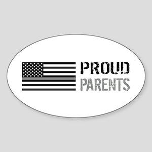 U.S. Flag Grey Line: Proud Parents Sticker (Oval)