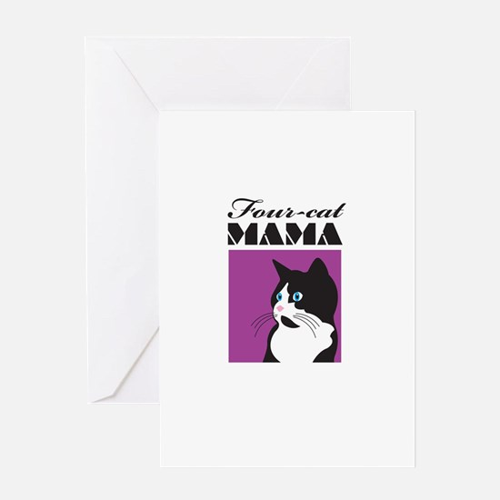 Four-Cat Mama Greeting Cards