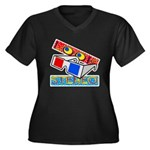 Anaglyph Women's Plus Size V-Neck Dark T-Shirt