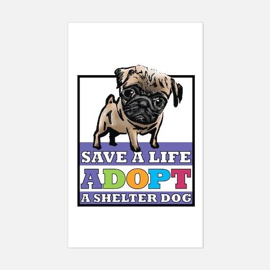 Adopt a Pug Rectangle Decal