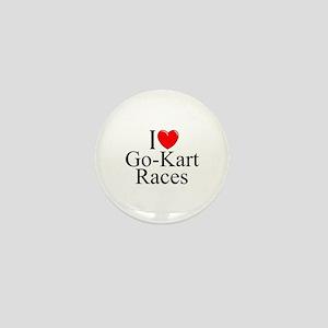 """I Love (Heart) Go-Kart Races"" Mini Button"
