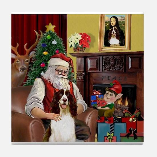 Santa & His Springer Tile Coaster