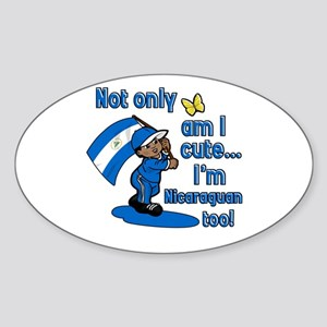 Not only am I cute I'm Nicaraguan too! Sticker (Ov