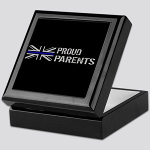 British Flag Blue Line: Proud Parents Keepsake Box