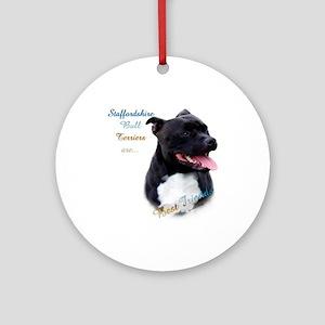 Staffy Best Friend 1 Ornament (Round)