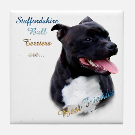 Staffy Best Friend 1 Tile Coaster