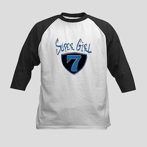 Super Girl #7 Kids Baseball Jersey