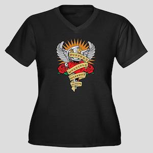 MS Heart & Dagger Women's Plus Size V-Neck Dark T-