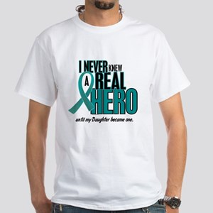 Never Knew A Hero 2 Teal (Daughter) White T-Shirt