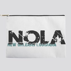 NOLA New Orleans Turquoise Gray Makeup Bag