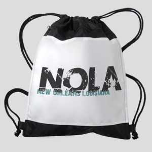 NOLA New Orleans Turquoise Gray Drawstring Bag