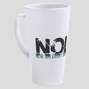 NOLA New Orleans Turquoise Gray 17 oz Latte Mug