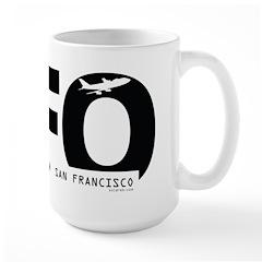 San Francisco Airport Code SFO Black Des Large Mug