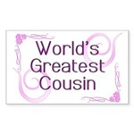 World's Greatest Cousin Rectangle Sticker 50 pk)