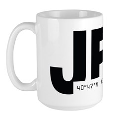 New York City Airport Code JFK Black Des Large Mug
