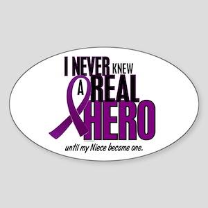 Never Knew A Hero 2 Purple (Niece) Oval Sticker