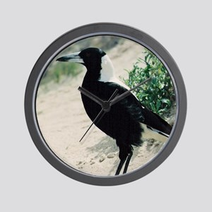 Australian Magpie on Beach Wall Clock