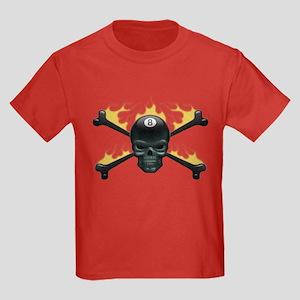 Flaming 8 Skull Kids Dark T-Shirt