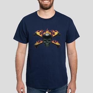 Flaming 8 Skull Dark T-Shirt