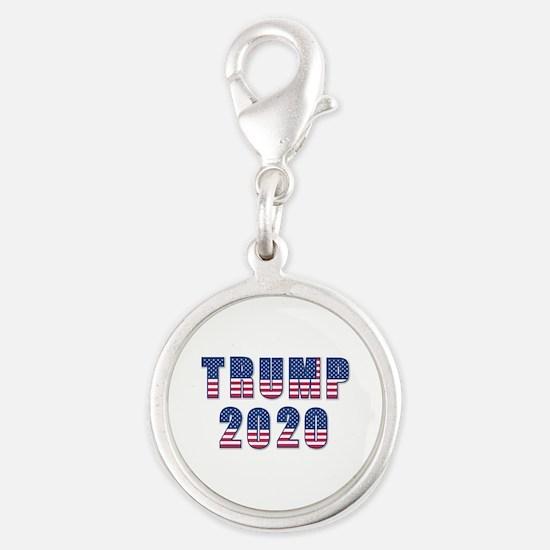 Patriotic Trump 2020 Silver Round Charm
