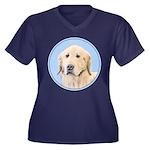Golden Retri Women's Plus Size V-Neck Dark T-Shirt