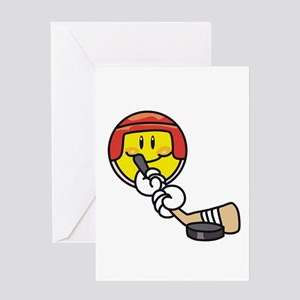 Smile Face Hockey Greeting Card