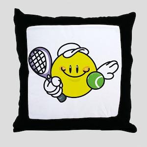 Smile Face Tennis Throw Pillow