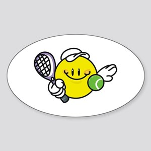 Smile Face Tennis Oval Sticker