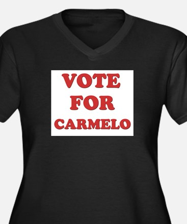 Vote for CARMELO Women's Plus Size V-Neck Dark T-S