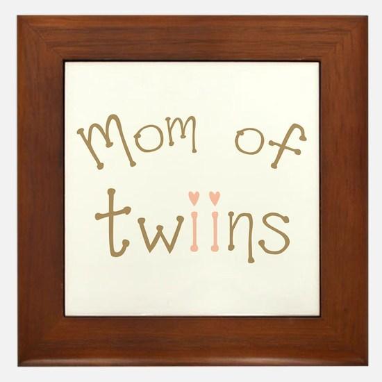 Mom of Twin Girls Twiin Framed Tile