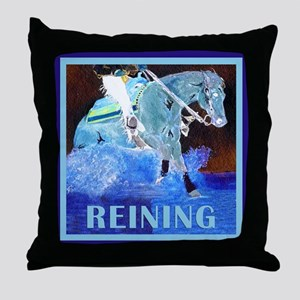 Blue Reining Horse Throw Pillow