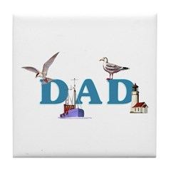 Dad's Fishing Place Tile Coaster