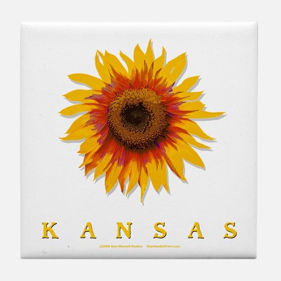 Kansas Sunflower Tile Coaster