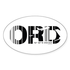 Chicago Illinois ORD Air Wear Oval Decal